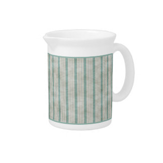 Geometric Vertical Aqua & White Linen Stripes Beverage Pitcher