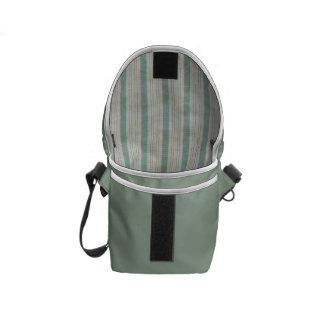 Geometric Vertical Aqua & White Linen Stripes Messenger Bag