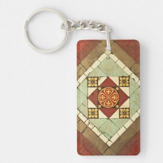 geometric victorian floral ceramic tile design keychain