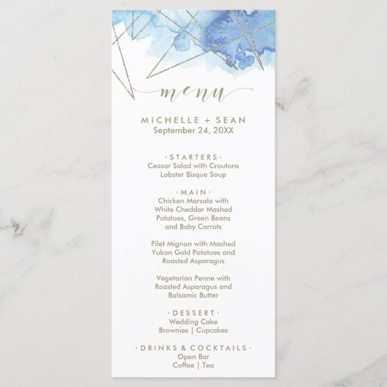 Geometric Watercolor Dinner Menu Card