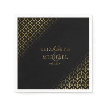 Wedding Themed Geometric Wedding Party Supplies Gold/Black ID477 Napkin