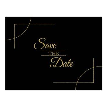 Wedding Themed Geometric Wedding Save the Date Gold/Black ID477 Postcard