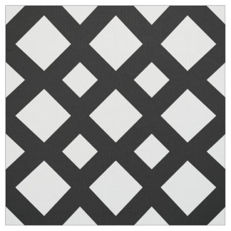 Geometric White Diamonds on Black Fabric