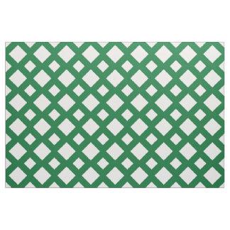 Geometric White Diamonds on Green Fabric