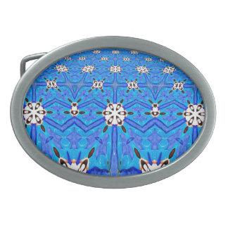 geometric white flowers on blue belt buckle