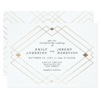 Geometric White Gold Deco White Wedding Invitation