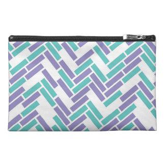 Geometric White, Teal and Purple Zipper Bag