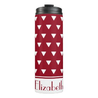 Geometric White Triangles on Red Personalized Thermal Tumbler