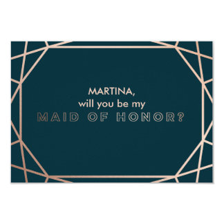 """Geometric """"will you be my maid of honor"""" card"""