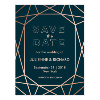 "Geometric | Winter Wedding ""Save the Date"" Postcard"