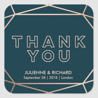 "Geometric | Winter Wedding ""Thank you"" Stickers"