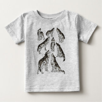 Geometric Wolves Howling At Moon Baby T-Shirt