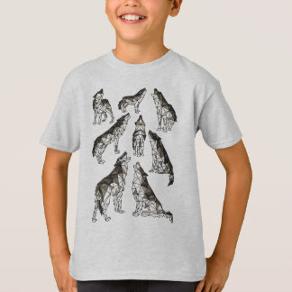 Geometric Wolves Howling At Moon T-Shirt
