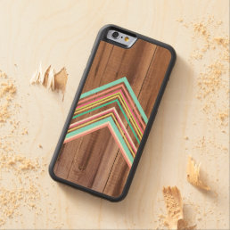 Geometric wood arrow carved maple iPhone 6 bumper case
