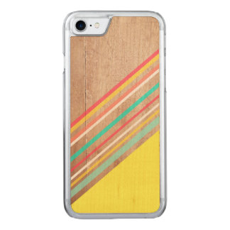 Geometric wood stripe carved iPhone 8/7 case