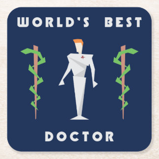 Geometric World's Best Doctor Square Paper Coaster