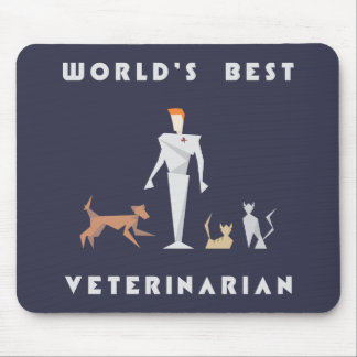Geometric World's Best Veterinarian Mouse Pad