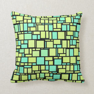 Geometric Yellow Green Shingles Throw Pillow