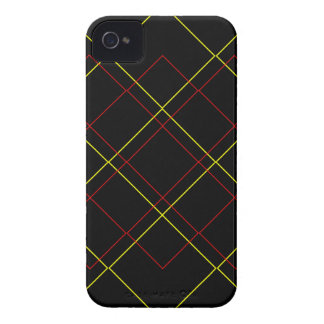 Geometric yellow red lines on black iPhone 4 case