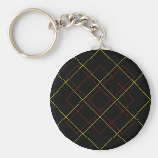 Geometric yellow red lines on black keychain