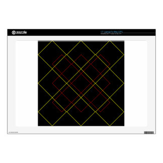 Geometric yellow red lines on black laptop decal