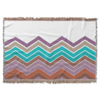 Geometric ZigZag Throw Blanket in Purple Tropical