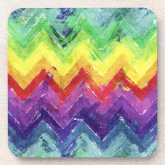 Geometric Zigzag Watercolor Drink Coaster
