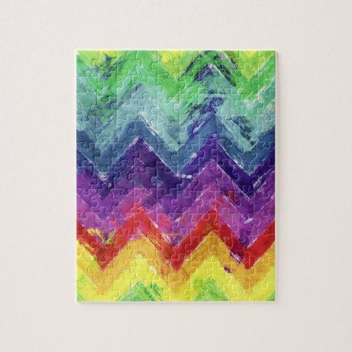 Geometric Zigzag Watercolor Puzzle