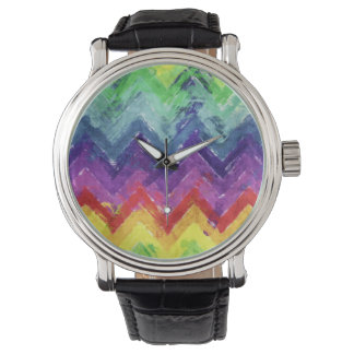 Geometric Zigzag Watercolor Wristwatch