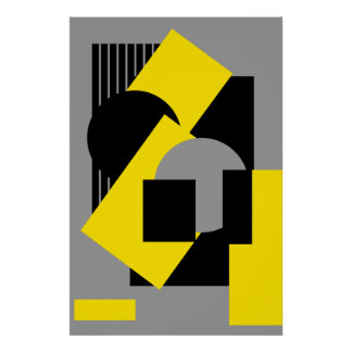 Geometrical abstract art deco mash-up2 poster
