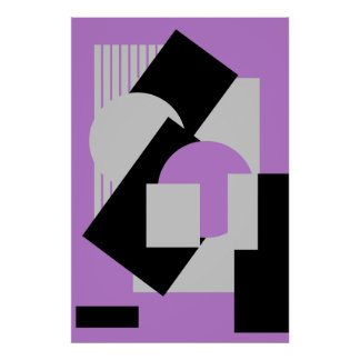Geometrical abstract art deco mash-up gray purple poster