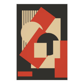 Geometrical abstract art deco mash-up poster
