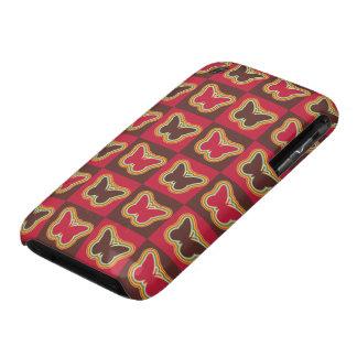 Geometrical butterflies tiles soft colors design iPhone 3 case