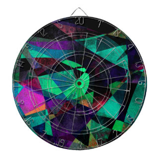 Geometrical, Colorful, Grungy Abstract Art Dartboard