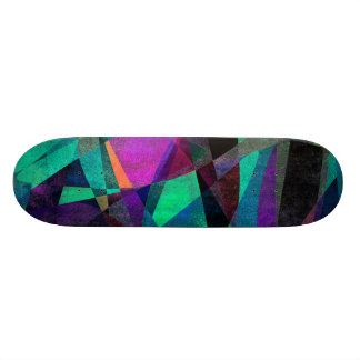 Geometrical, Colorful, Grungy Abstract Art Skateboard Deck