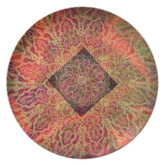 Geometrical Floral Design by Carol Zeock Melamine Plate