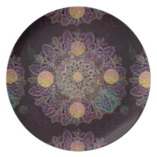 Geometrical Floral Design II by Carol Zeock Melamine Plate
