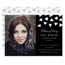 Geometrical gems black white graduation cards