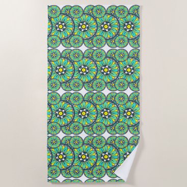 Aztec Themed Geometrical Overlapping Mint Green Art Deco Beach Towel