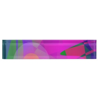Geometrical Pink Blue and Green Nameplates