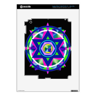 Geometrical Stained Glass Star of David Skins For iPad 3