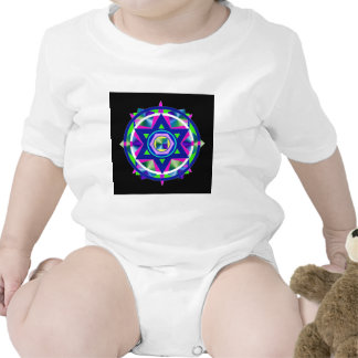 Geometrical Stained Glass Star of David. Tee Shirts