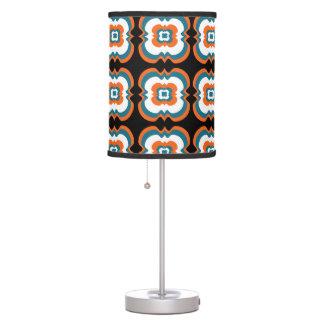 Geometrical Teal Orange Flower Squares Pattern Table Lamp