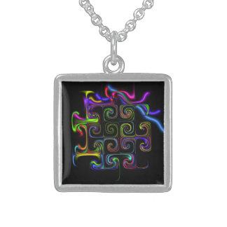 Geométrico abstracto de neón en el collar artístic