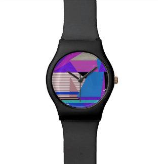 Geométrico abstracto púrpura reloj