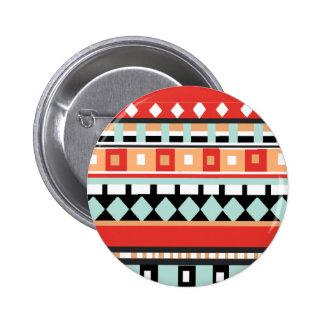 Geométrico - Adobe, turquesa y Brown Pin Redondo De 2 Pulgadas