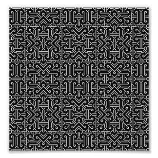 Geométrico agudo étnico blanco y negro cojinete