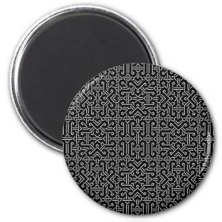 Geométrico agudo étnico blanco y negro imán redondo 5 cm