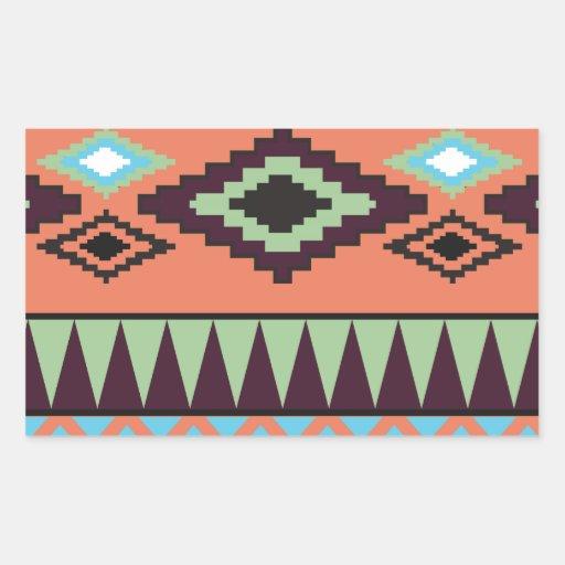Geométrico al sudoeste tribal de Aztek Rectangular Pegatinas