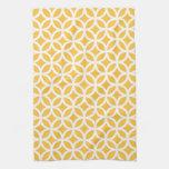 Geométrico amarillo solar toalla de mano